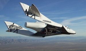 Virgin Galactic's SpaceShipTwo on its first test flight over the Mojave Desert, California